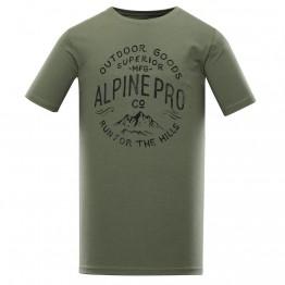 Футболка Alpine Pro Uneg 9 чоловіча зелена/чорна